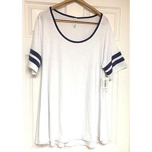LuLaRoe White Perfect T White with Blue Stripes 2X